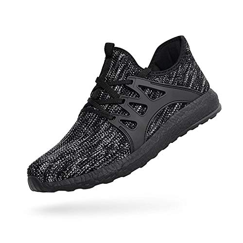 ZOCAVIA Herren Damen Sneaker Running Laufschuhe Sportschuhe Rutschfeste Sneaker Grauschwarz 37 EU
