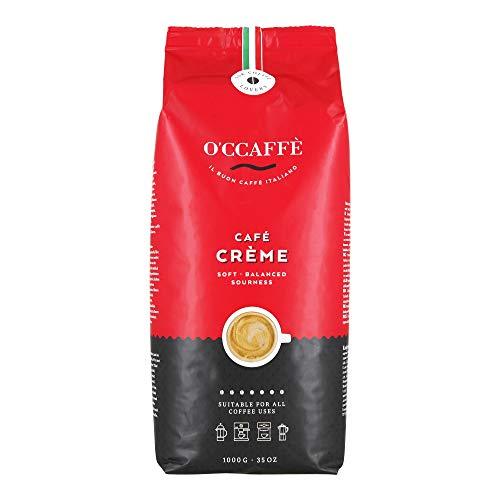 O'ccaffè Café Crème | extra langsame Trommelröstung | aus italienischem Familienbetrieb | säurearmer, aromatischer Kaffee Crema | 1kg ganze Bohnen (Crema)