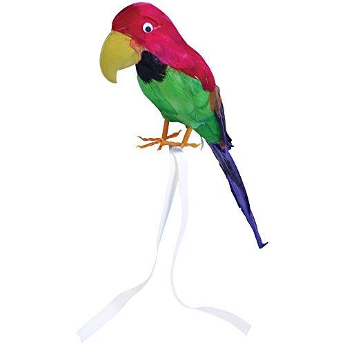 Papagei mit echten Federn ca. 42cm Vogel f. Kostüm Pirat Hawaii Deko Piraten Südsee Strand (Südsee Piraten Kostüme)