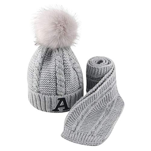 uBabamama_Hat Baby-Wintermütze für 2–8 Jahre, warm, 2 Stück, mit Buchstaben-Druck, gehäkelt, Strickmütze mit modischen Schals, grau, Einheitsgröße