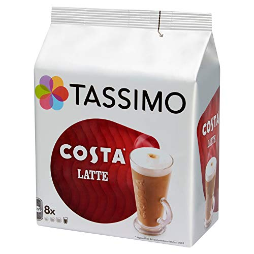 TASSIMO Costa Latte 16 discs, 8 servings (Pack of 5, Total 80 discs, 40 servings)