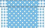 Sovie HOME Tischläufer ANTON / Linclass® Airlaid Tischläufer 40 cm x 4,80m / Tischdecken-Rolle stoffähnlich / Einmal-Tischdecke für Hochzeit & Partys/ Punkte (Blau)