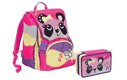 Dettagli su zaino sdoppiabile schoolpack girl animali da sj flip sistem + astuccio triplo