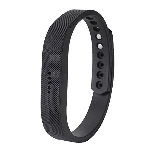 Pinzhi - Correa de Goma Depote Pulsera Reloj con Broches para Fitbit flex Banda Repuesto (Negro)