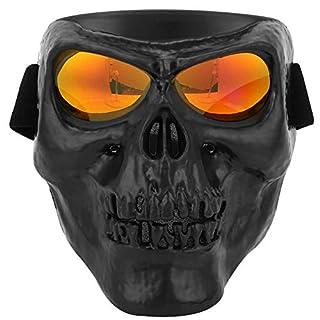 Naroote Schutzbrille-Maske, Motorrad-Reitschutz-Skelett-Maske Winddicht(Schwarz Rot)