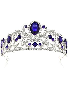 SWEETV Vendimia Realerde Corona Nupcial Tocado CZ Cristal Tiara Diadema Accesorios para Mujeres