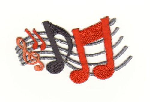 Aufnäher Bügelbild Iron on Patches Applikation Musik Notenschlüssel Noten (Der T-shirts Flammen Band)