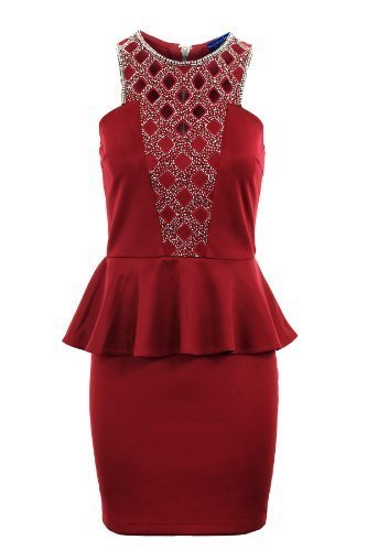 Saphir Damen Gold Silber Diamond Wulstig Ausgeschnitten Damen Bleistiftrock Schößchen Damenkleid Rot
