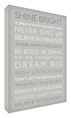 Feel Good Art Gallery Wrapped Box Canvas with Solid Front Panel (30 x 20 x 4 cm, Grey, Dream Big from the Inspiration Collection) produced by Feel Good Art - quick delivery from UK.