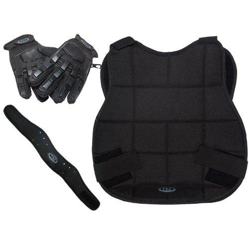 Legion Paintball Schutzset - schwarz mit Vollfinger-Handschuh