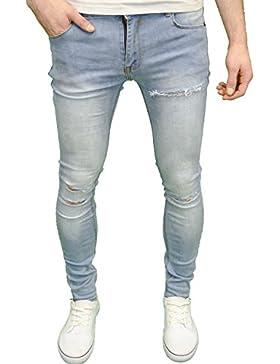 Soulstar Jeans da uomo designer di marca, stile stretch super skinny fit, strappati