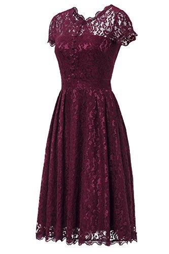 Gigileer Elegant Damen Kleider Spitzenkleid Cocktailkleid Knielanges Vintage 50er Jahr hochzeit Party weinrot XL - 3
