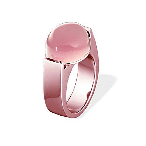 XEN Ring mit 15x12 mm großen Rosenquarz rosè vergoldet 56 (17.8)
