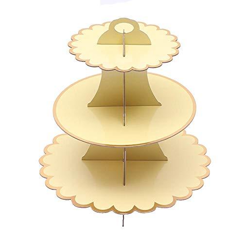 alley.L Runde Tortenständer aus Pappe Cupcake-Ständer Snack-Ständer Obstschale Hochzeit Kuchen Süßigkeitenteller 3-stöckig Dessert Ständer Cupcake Tower Gold