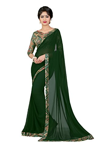 OOMPH! Georgette Saree With Blouse Piece (rbaf_Pine Green_Free Size)