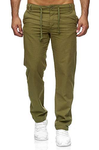 Reslad Leinenhose Männer Chino Herren-Hose lockere Sommer Stoffhose Freizeithose aus bequemer Baumwolle lang RS-3000 (2XL, Khaki) (Hose Herren Khaki)