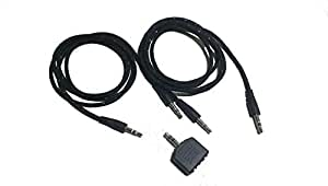 Lee Tech Mobile / Tablet / Laptop / Car Accessories Kit of 2 Stereo Male to Male 3.5mm Audio Aux Cable + 1 Audio Aux Y Splitter Adapter Accessory Combo(Black)