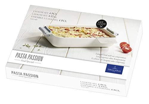 Villeroy & Boch Pasta Passion Lasagne-Set, 4-teilig, Premium Porzellan/Edelstahl/Silikon, Weiß/Grau