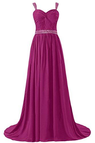 Gorgeous Bride Elegant Traeger A-Linie Lang Chiffon Mit Schleppe Abendkleider Festkleider Ballkleider Fuchsia