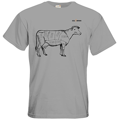 getshirts - SizzleBrothers Merchandise Shop - T-Shirt - SizzleBrothers - Grillen - Meatmap pacific grey