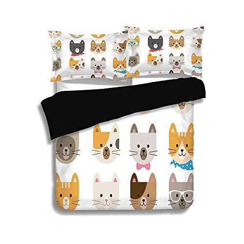 Schwarzer Bettbezug-Set, Kinder, Katzen Kostüm mit Brille Fliege Bandanna Cartoon Art Craft Muster Print Haustiere Tierliebhaber drucken dekorative, dekorative 3 Stück Bettwäsche Set von 2 Pillow (Mama Tochter Katze Kostüme)