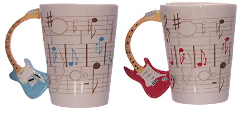 Rock guitarist ceramic coffee mug manico per chitarra tazza con note musicali musicisti tea cup gift for music lovers