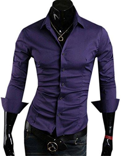 Haroty Uomo Camicie Slim Fit Moda Casual Maniche Lunghe Classiche Formale e Business Men Shirts Fashion Colore Solido Viola