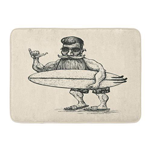 Fußmatten Bad Teppiche Outdoor/Indoor Fußmatte Hipster Surfer Bart Schnurrbart Sonnenbrille und Surfbrett Gravur Linolschnitt Mann Badezimmer Dekor Teppich Badematte
