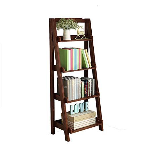 ACZZ Bücherregal Kleinigkeiten Regal, Leiter Stil Regale Storage Display Units Schreibtisch, Wandregal 5 Ebenen -Finishing und Lagerung,Walnuss Farbe,60 * 36 * 140 cm -