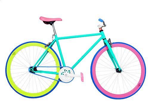 Wizard Industry Helliot Soho 5306 – Bicicleta fixie, cuadro de acero, frenos V-Brake, horquilla acero y ruedas de 26″, multicolor