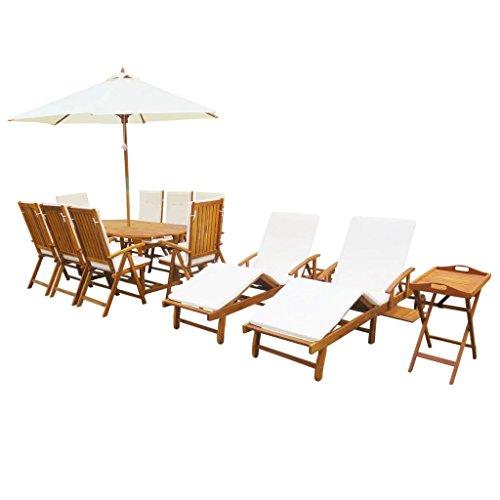 Festnight 23-tlg. Garten-Essgruppe mit Kissen Gartengarnitur aus Akazienholz Gartenmöbel Set inkl....