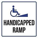 Maureen52Dorothy Pegatinas de advertencia de seguridad comercial con rampa de discapacidad y rampa, vinilo cuadrado, signos de despedida de soltera, 9 x 9 cm