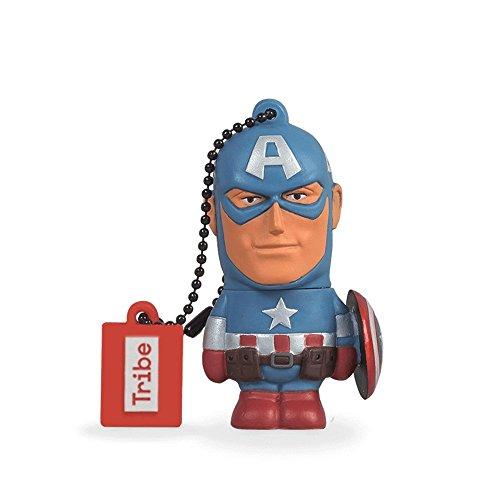 Tribe disney marvel avengers captain america chiavetta usb da 8 gb pendrive memoria usb flash drive 2.0 memory stick, idee regalo originali, figurine 3d, archiviazione dati usb gadget in pvc con portachiavi - blu