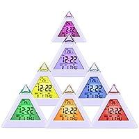 WINWINTOM Pirámide de temperatura 7 colores LED despertador