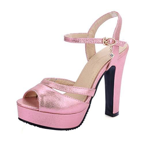 Y2Y Studio Damen Ankle Strap Sandaletten Blockabsatz mit Riemchen Peeptoe Glitzer High Heels mit 12cm Absatz Moderne Schuhe in Größe 34-41 für Abend Career Office Sommer Freizeit