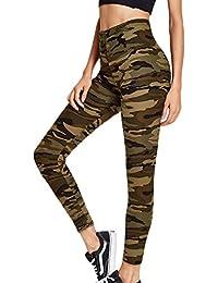 La Mujer Casual Pantalones Leggings Pantalones Camuflaje Tobillo Elastico