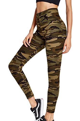 La Mujer Casual Pantalones Leggings Pantalones Camuflaje