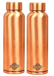 IndianArtVilla Leak Proof Ergonomic Design Lacqour Coated Matt Finish Set of Copper Bottle, Travel Essential, Drinkware, 900 ML, 2 Pieces