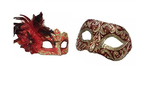 d9d13bbc2a10 His and Hers Couples Masquerade Masks Delightful Spectacular Red Gold  Toscana Calabria Handmade Venetian Mask  Amazon.co.uk  Toys   Games