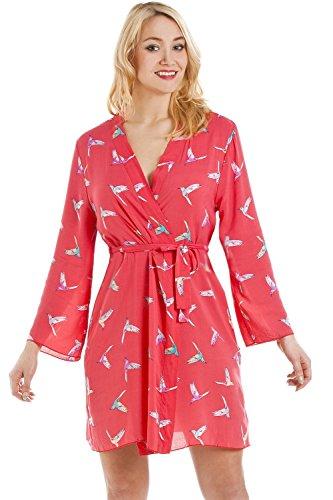Completo vestaglia e camicia da notte con stampa colibrì - rosso corallo ROSSA