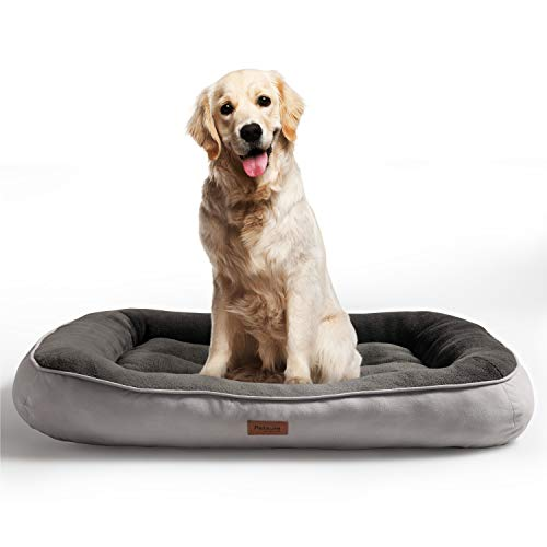 Bedsure Plush Dog Bed Extra Large- Machine Washable Pet Bolster Bed for Large Dogs Up to 45 KG, Grey, 110x76x18cm