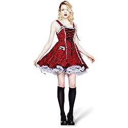 Hell Bunny - vestido corto escocés a cuadros Alexander - de fiesta - con encaje y acordonado - rojo - XL