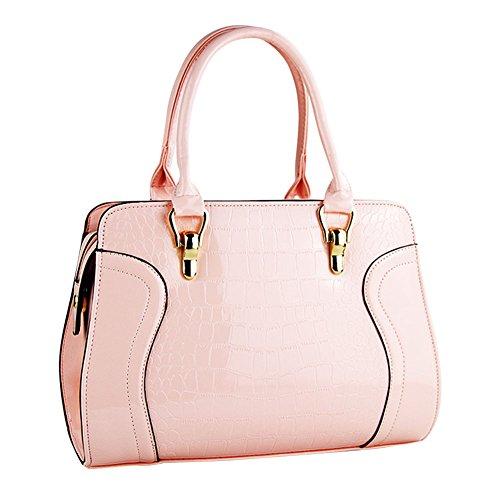 Donne Colore Puro Coccodrillo Modello Pelle Sintetica Borsa a Tracolla Borsetta Pacchetto Diagonale Rose Pink