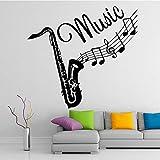 Trombone Creative Instrument de Musique Sticker Mural Enfants Chambre Amovible Vinyle De Mode Musique Sticker Autocollant Papier Peint Autocollant blanc XL 58 cm X 62 cm