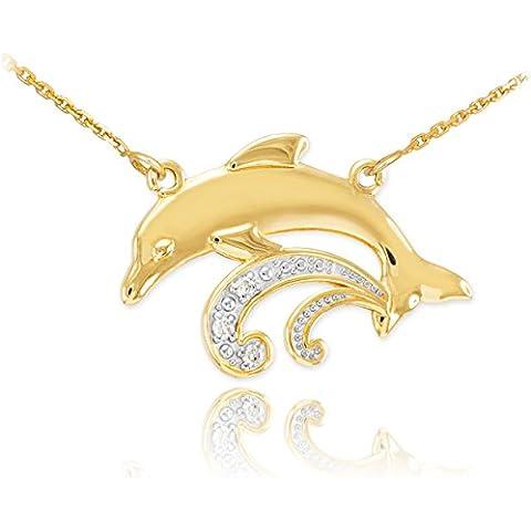 14 quilates 585/1000 Oro Diamante Collar Delfín