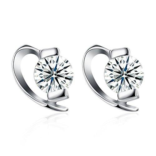 YAZILIND 925 joyería de plata esterlina moda medio corazón forma cubic zirconia...