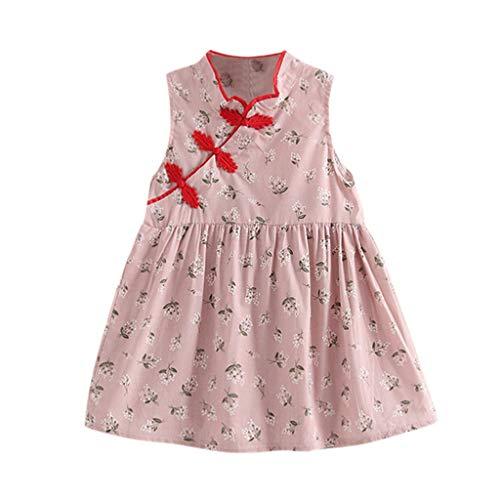 squarex  Mädchen Ärmelloser Rock Kleinkind Floral Cheongsam Kinder Partykleid Baby Prinzessin Kleid Outfits Bequemes Kleid Freizeitrock (Outfits Junioren Rosa Für)