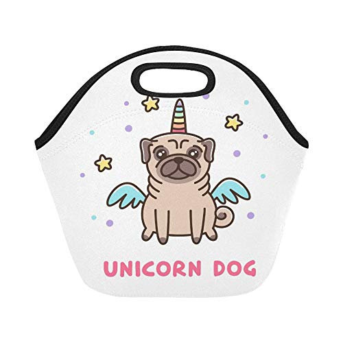 Isolierte Neopren-Lunchpaket Cute Dog Mops Breed Unicorn Kostüm Große Größe wiederverwendbare thermische dickes Mittagessen Tragetaschen für Lunch-Boxen für im Freien, Arbeit, Büro, - Mop Dog Kostüm