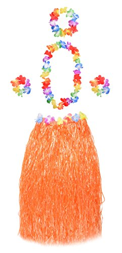 Wooly Bugged Hawaii Party Kostüm Set mit Blumen 5 Stück Orange