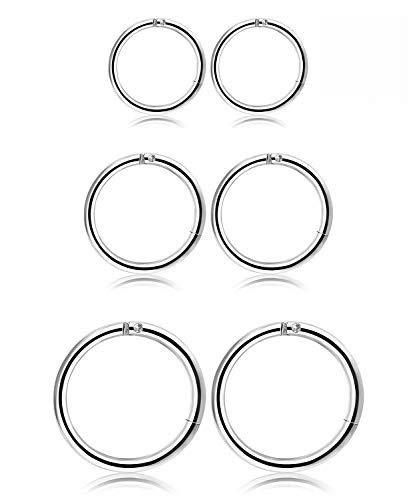 Milacolato Edelstahl Ohr Piercing Creolen Lippen Septum Piercing Ohrringe für Männer Frauen,3 Paar